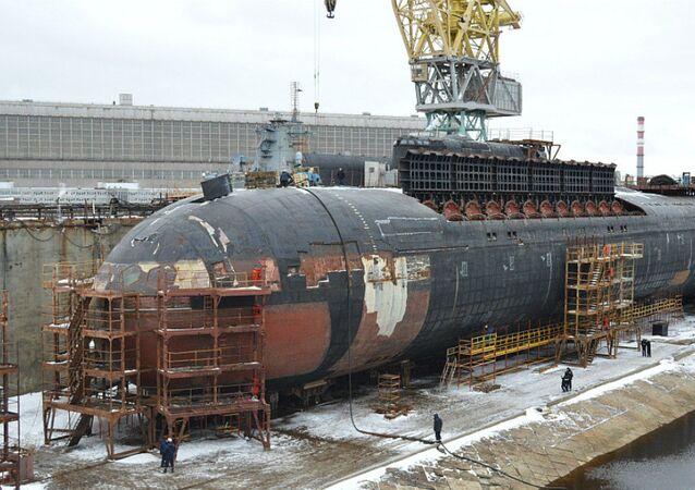 Orel nuclear submarine docked at Zvezdochka ship repair center