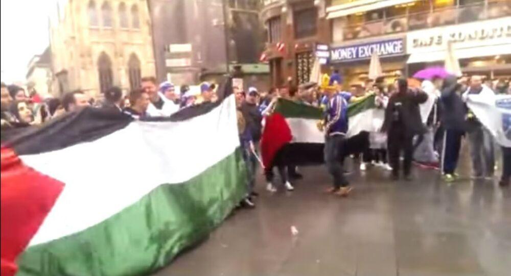 Bosnian fans meet a group of pro-Palestine demonstrators and after Free Palestine soon start chanting Ubij, ubij Židove (Kill, kill the Jews!) in Vienna's central square (Stephansplatz) a few hours before the international friendly Austria - Bosnia&Herzegovina.