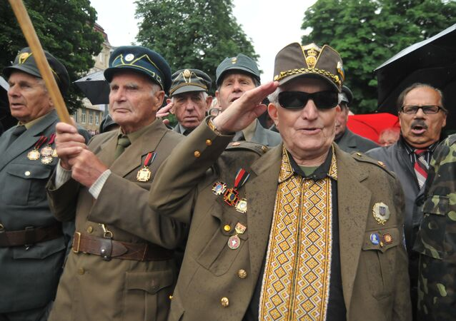 UPA militia celebrating 'Heroes Day' in Lviv, western Ukraine, 2015.