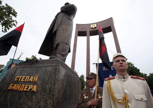 Veterans of the Ukrainian Insurgent Army (OUN-UPA) at the monument to Stepan Bandera during the Heroes Festival in Lviv.