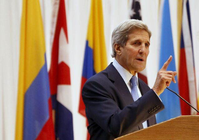 U.S. Secretary of State John Kerry addresses the audience during an event on the sidelines of the VII Summit of the Americas in Panama City April 9, 2015.