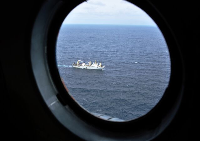 Russian trawler, the same type as Dalny Vostok, takes part at a rescue operation in the Sea of Okhotsk