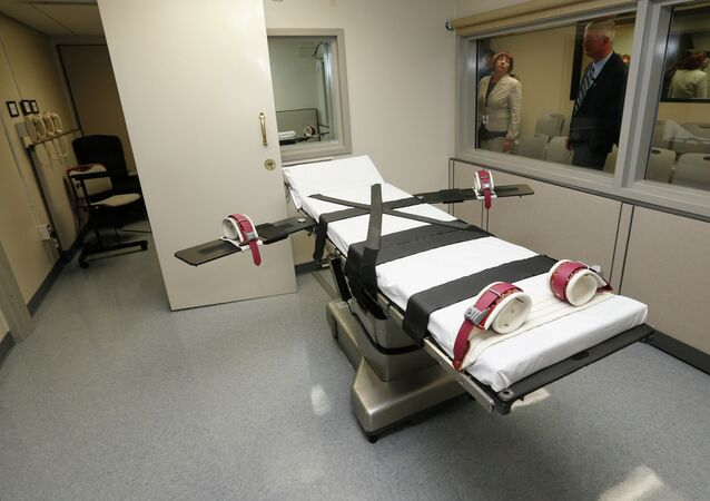 Witness room at right, outside the newly renovated death chamber at the Oklahoma State Penitentiary in McAlester, Okla