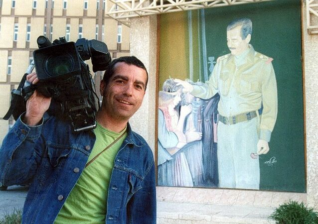An undated handout of Spanish news cameraman Jose Couso who was killed in Baghdad, 08 April 2003 by a shell fired from a US tank into the Palestine Hotel. (File)