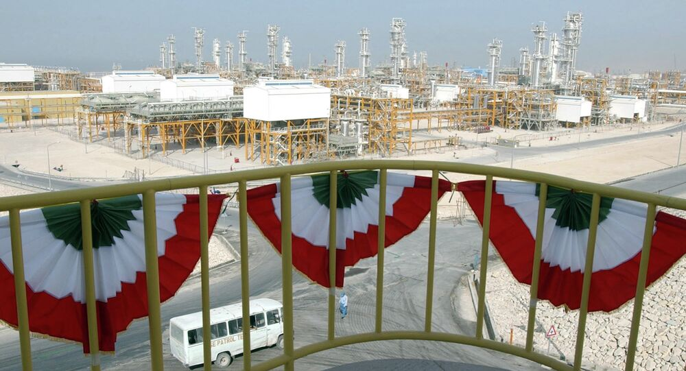 A general view of the facility of the phases 4 and 5 of South Pars gas field unseen, in Assalouyeh, southwestern Iran