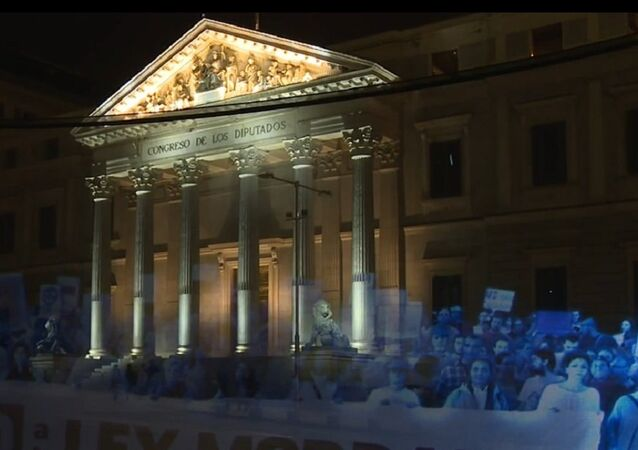 Activists participated in the first hologram protest in history that took place in Madrid