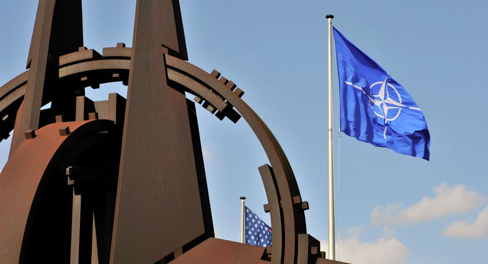 NATO flag in the wind at the NATO headquarters in Brussels. (File)