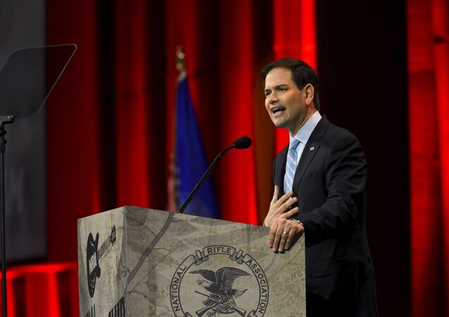 US Senator Florida Marco Rubio (R-FL) speaks during the National Rifle Association's annual meeting in Nashville, Tennessee April 10, 2015