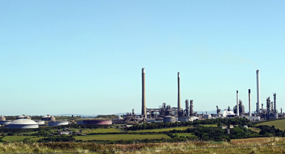 A general view of the Chevron Oil Refinery near Pembroke in west Wales