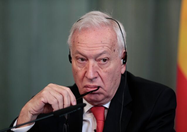 Spanish Foreign Minister Jose Manuel Garcia-Margallo listens to a question during a joint press conference with Russian Foreign Minister Sergey Lavrov in Moscow
