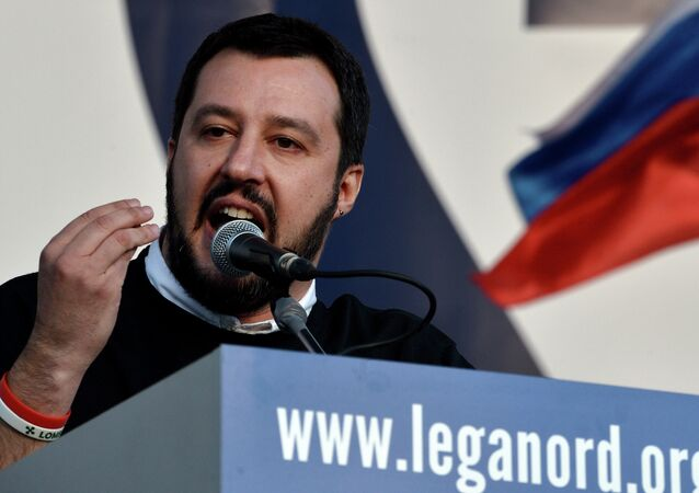 Italian Northern League (Lega Nord) party leader Matteo Salvini speaks during a rally against the Italian government's policy