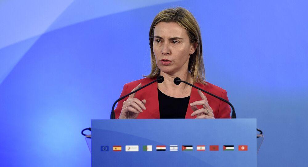 European Union High Representative Federica Mogherini speaks during a press conference in Barcelona on April 13, 2015