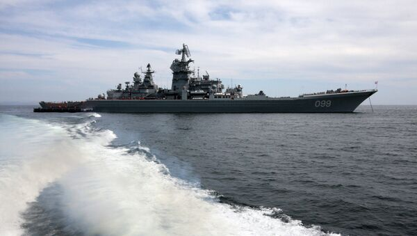 The heavy nuclear-powered GM cruiser Peter the Great of the Arctic fleet seen in the Pacific fleet vessels' sortie for combat training. - Sputnik International