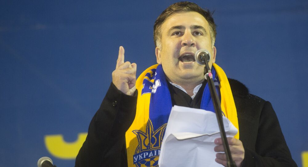 Former Georgian President Mikhail Saakashvili has reportedly met a group of former Georgian soldiers involved in the fighting in eastern Ukraine