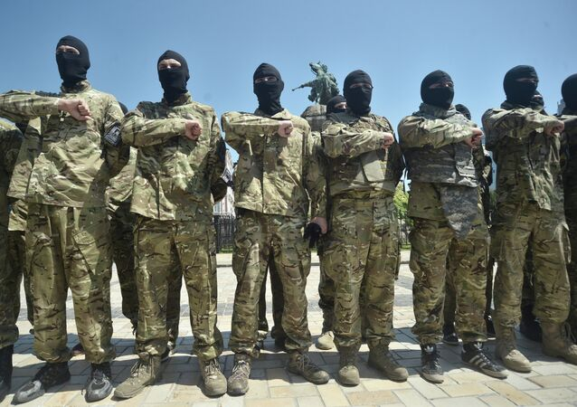 Azov battalion soldiers take oath in Kiev before being sent to Donbass
