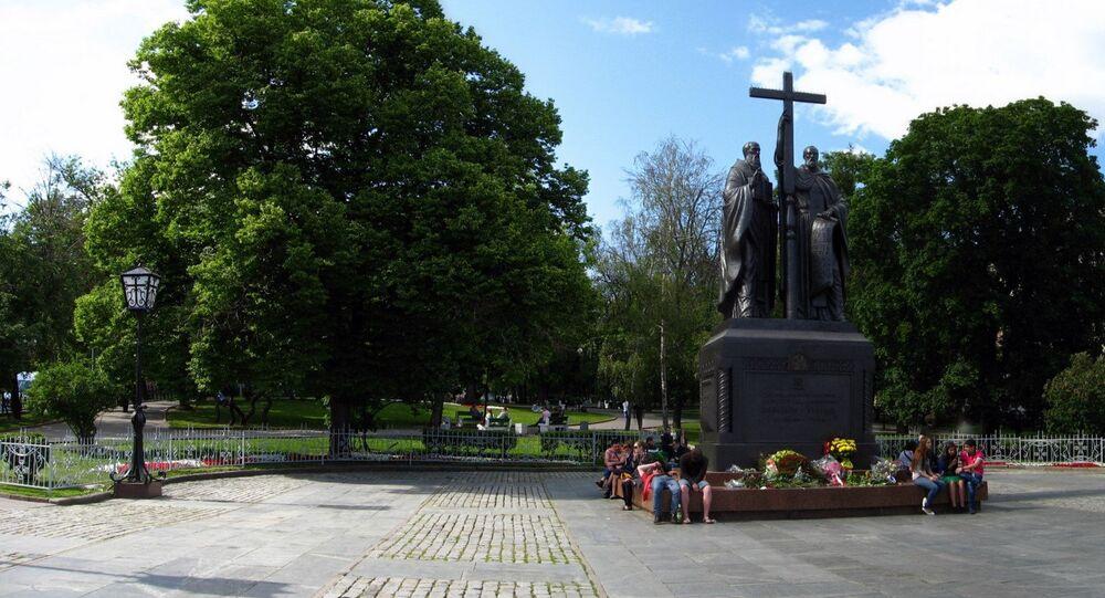 The monument to Slavic written language Cyril (secular name - Konstantin) and Methodius (secular name - Mikhail) on Slavyanskaya Square