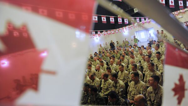 Canadian soldiers attend the handover ceremony to US forces at Kandahar airbase. File photo - Sputnik International