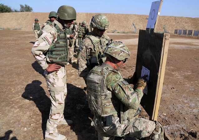 A U.S. soldier, right, helps Iraqi security forces improve shooting skills.