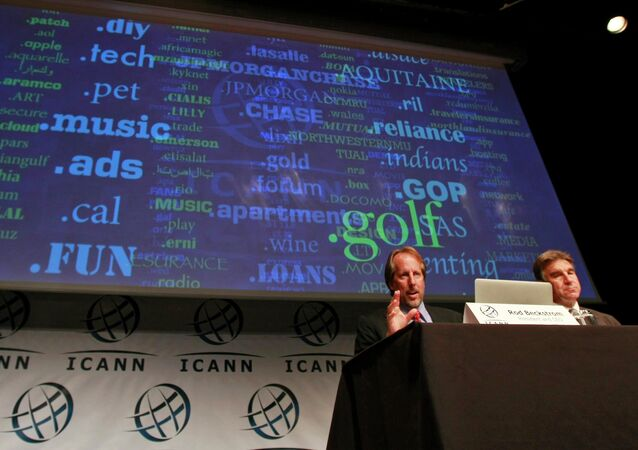 ICANN President and Chief Executive Rod Beckstrom speaks on expanding the number of domain name suffixes during a press conference in London.
