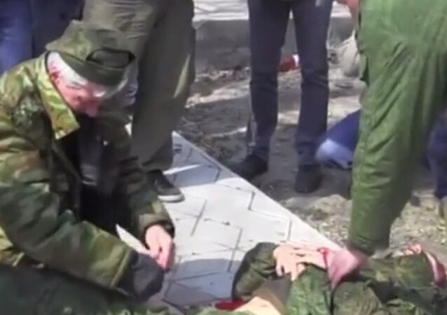 A journalist working for Russian television was seriously injured when he stepped onto a trip-wired booby trap in eastern Ukraine, while covering a ceasefire monitoring mission.
