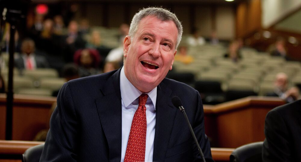 New York City Mayor Bill de Blasio speaks during a joint legislative budget hearing on local government on Wednesday, Feb. 25, 2015, in Albany, N.Y.