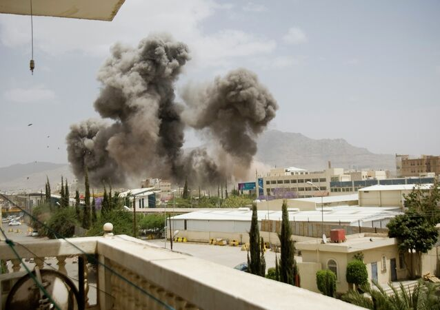 Smoke billows from a Saudi-led airstrike on Sanaa, Yemen, Wednesday, April 8, 2015