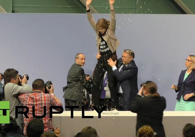 Watch FEMEN crash ECB President Mario Draghi!