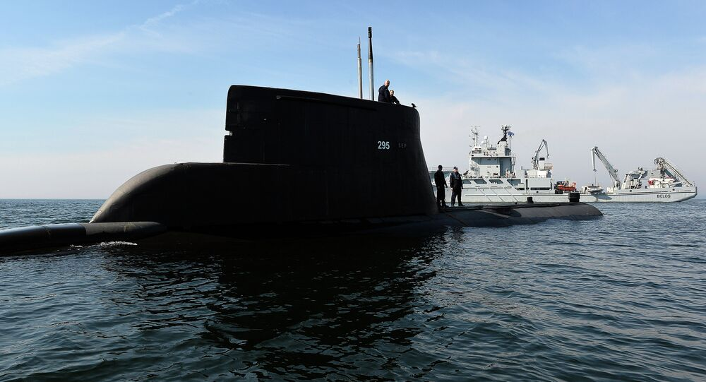 Submarine ORP Sep and Swedish vessel HSWMS Belos take part in the NATO exercises 'Dynamic Monarch 2014', near Gdynia on 22 May 2014