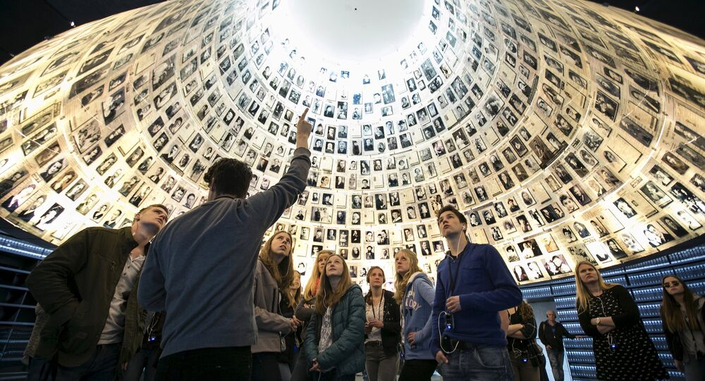 Students from Germany visit the Hall of Names at Yad Vashem's Holocaust History Museum in Jerusalem