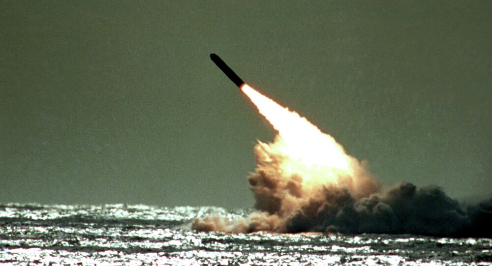 Dec. 4, 1989 file photo shows the launch of a Trident II, D-5 missile from the submerged USS Tennessee submarine in the Atlantic Ocean off the coast of Florida. As of mid-2010, 12 operational US nuclear-missile submarines carry a total of 288 Trident missiles.