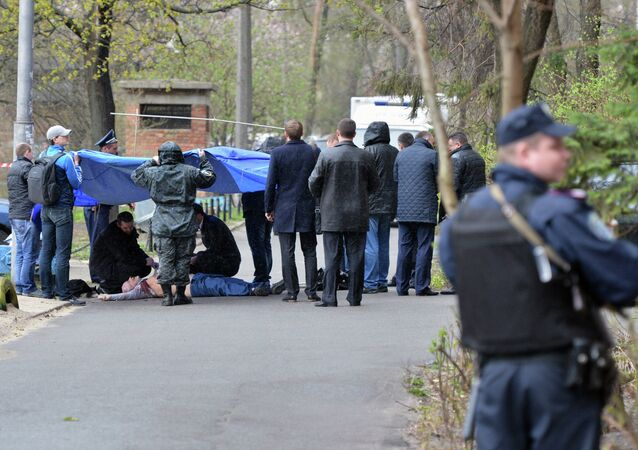 Scene of the murder of journalist Oles Buzina in Kiev, April 16. Buzina was shot dead near the entrance to his house.