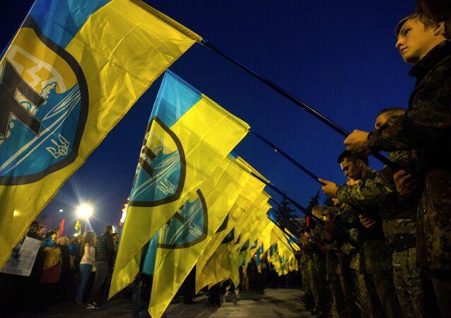 Students marking the 72nd anniversary of the Ukrainian Insurgent Army in Lviv, western Ukraine.