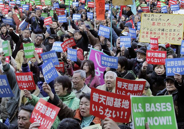 Okinawa Residents Protest Presence of US Military Bases