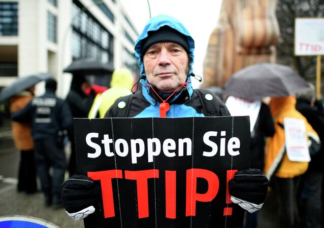 A protester holds up a sign, reading: Stop TTIP! (Transatlantic Trade and Investment Partnership)