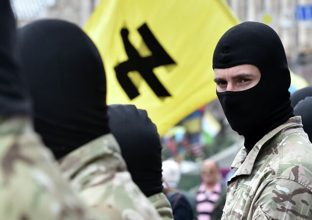 Fighters of the Social Nationalist Assembly (SNA), part of the ultra-nationalist Right Sector party