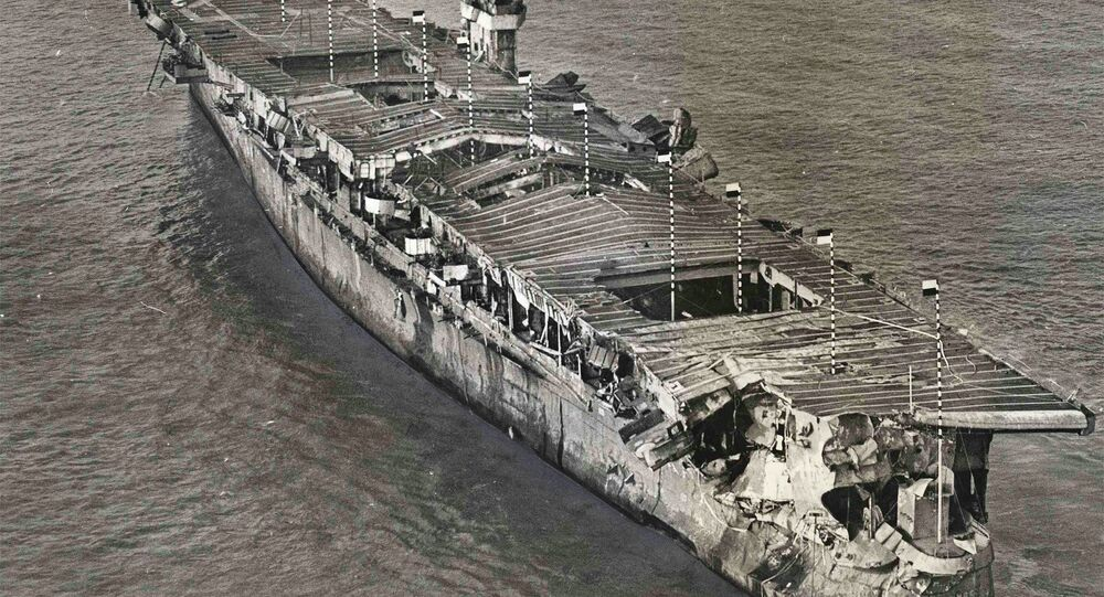 An aerial view of ex-USS Independence