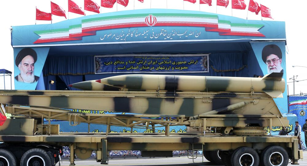 Missiles are displayed by the Iranian army in a military parade marking National Army Day
