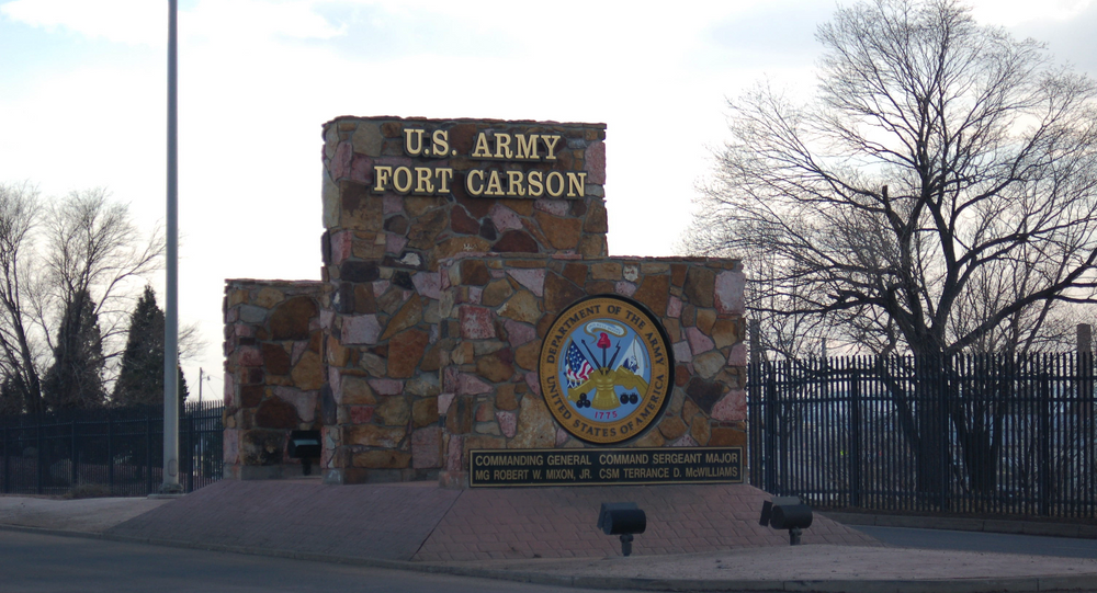 One of the main entrance signs at Fort Carson