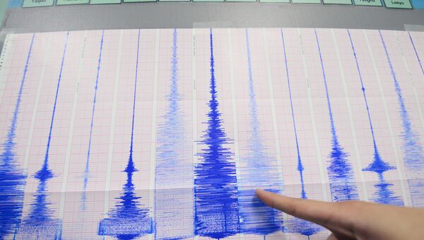 A staff member of the Seismology Center points to a chart showing the earthquake activity detected by the central Weather Bureau in Taipei on April 20, 2015 - Sputnik International