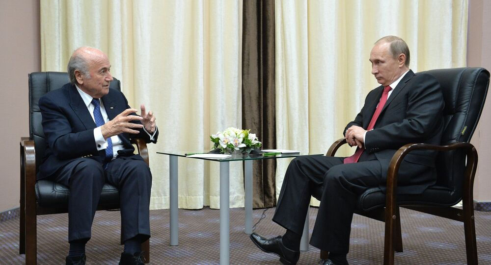 Russian President Vladimir Putin (right) and FIFA President Joseph S. Blatter