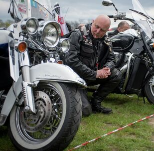 Motorcyclists attend a mass during the annual Polish motorcyclists pilgrimage to the Jasna Gora monastery, the country's greatest place of pilgrimage hosting the Black Madonna of Czestochowa in Czestochowa, Poland, April 19, 2015