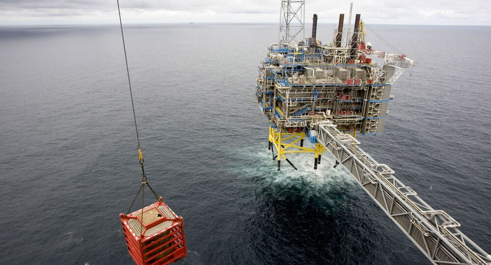 A container is lifted by a crane on May 15, 2008 on the Sleipner gas platform, some 250 kms off Norway's coast in the North Sea