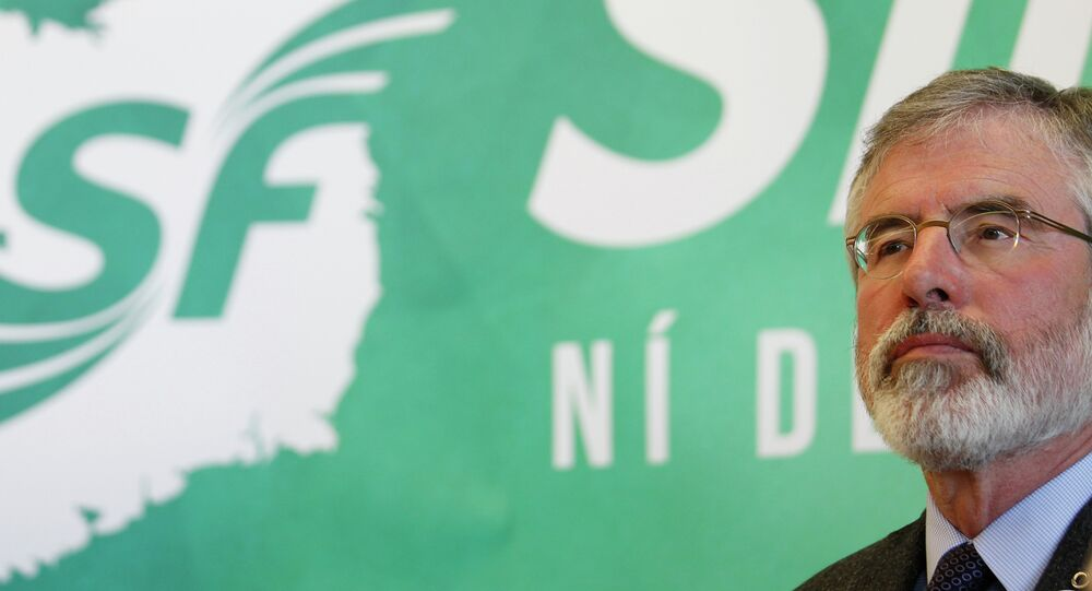 Sinn Fein President Gerry Adams at the launch of the party's General Election manifesto in Dungannon, Northern Ireland, Monday, April 20, 2015
