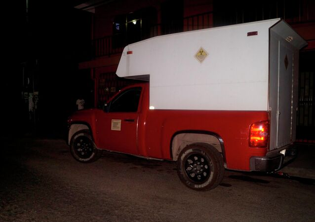 Picture released on April 16, 2015 of the truck which was transporting a box of radioactive material and which was found empty by the police in the surroundings of the local airport in Tabasco, Mexico