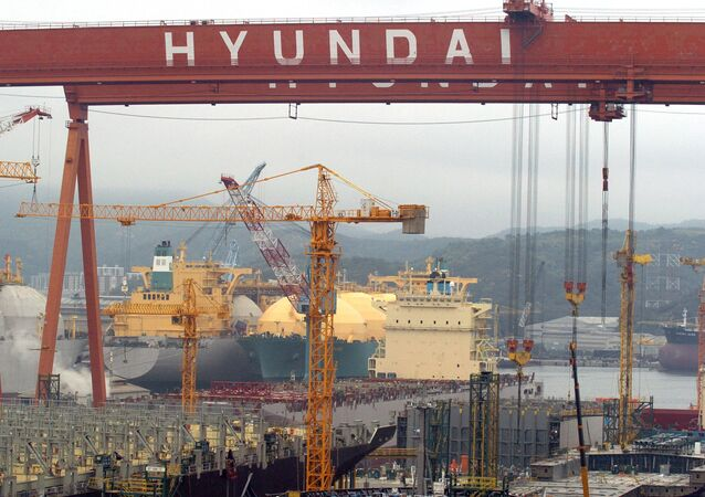 A file picture taken on May 6, 2005 shows a view of Hyundai Heavy Industries shipyard in Ulsan