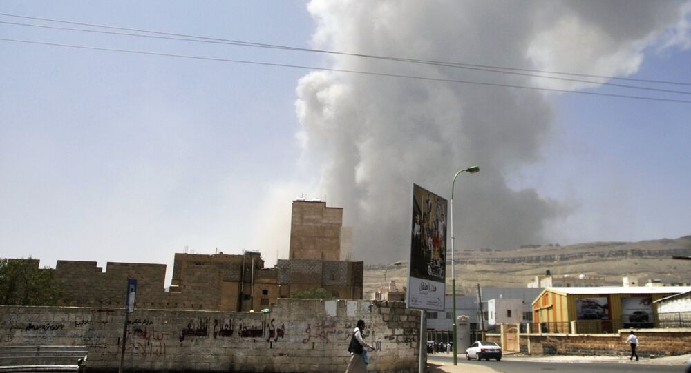 Aftermath of coalition airstrikes on Yemen
