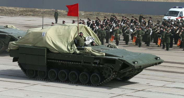 Armored combat vehicle on a heavy tracked vehicle platform Armata at the May 9 Victory Parade rehearsal in Moscow region.