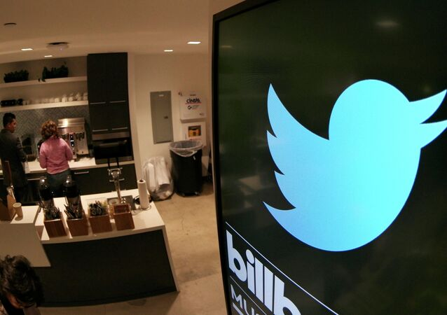 A monitor is pictured in a kitchen area at tech company Twitter's office space in Santa Monica, California, on April 7, 2015