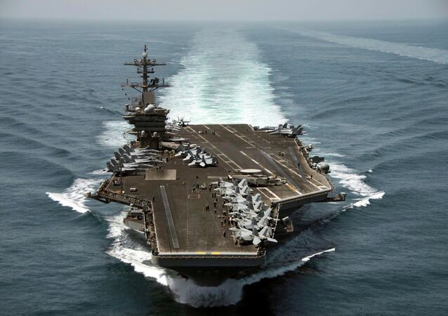 The aircraft carrier USS Theodore Roosevelt (CVN 71) operates in the Arabian Sea conducting maritime security operations in this U.S. Navy photo taken April 21, 2015