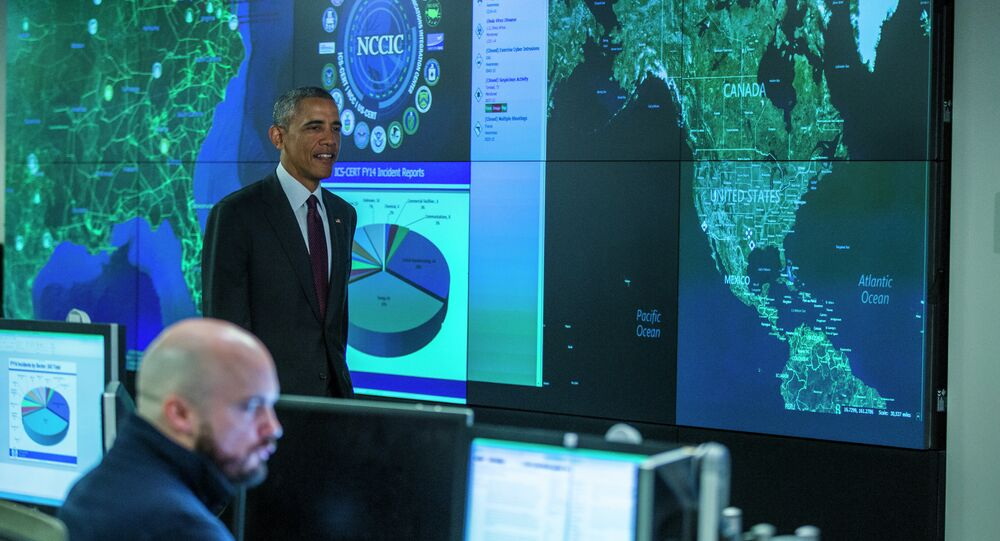 President Barack Obama arrives to speak at the National Cybersecurity and Communications Integration Center in Arlington